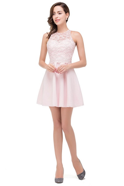 Short Sleeves Chiffon A-line Mini Bridesmaid Dress_3