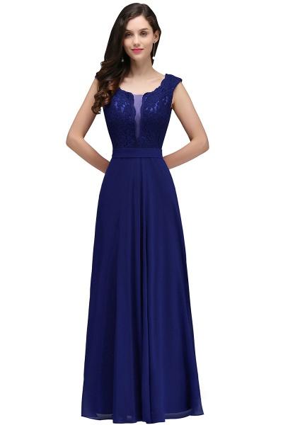 Scoop Cap Sleeves Satin Chiffon A-line Floor Length Bridesmaid Dress_3