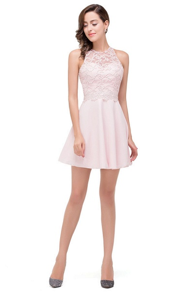 Short Sleeves Chiffon A-line Mini Bridesmaid Dress_5