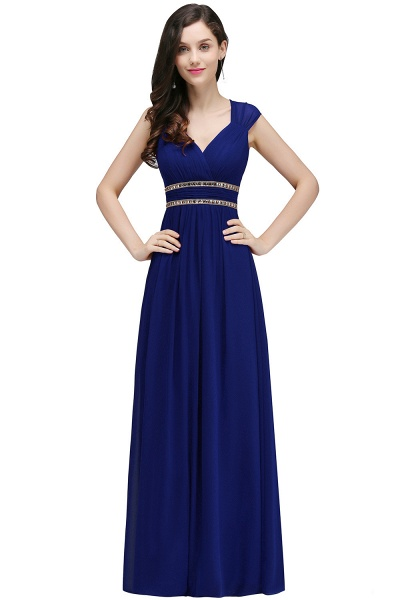 V-neck Cap Sleeves Chiffon Column Floor Length Bridesmaid Dress_5