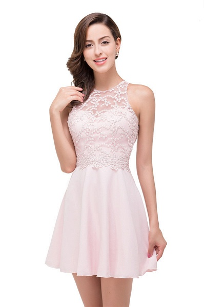 Short Sleeves Chiffon A-line Mini Bridesmaid Dress_6