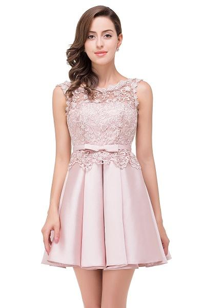 A-line Lace Knee-length Satin Homecoming Dress_2