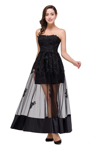 Fascinating Strapless Tulle A-line Evening Dress_7