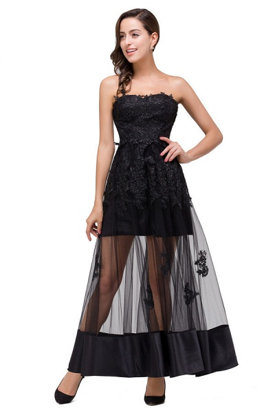 Fascinating Strapless Tulle A-line Evening Dress_1