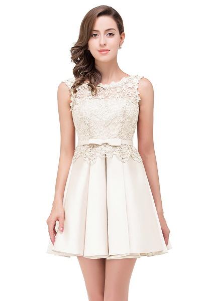 A-line Lace Knee-length Satin Homecoming Dress_1