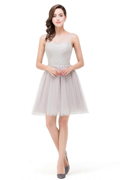 Chiffon A-line Mini Bridesmaid Dress_2