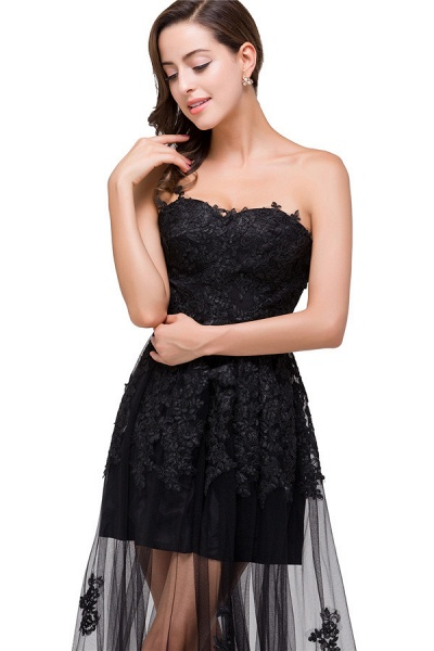Fascinating Strapless Tulle A-line Evening Dress_4