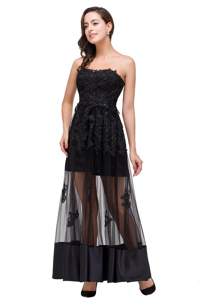 Fascinating Strapless Tulle A-line Evening Dress_3