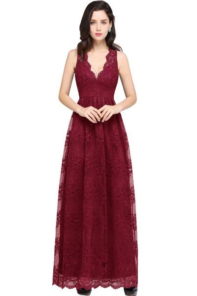 Amazing V-neck Lace Column Bridesmaid Dress_2