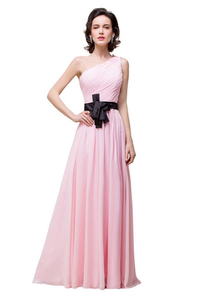 One Shoulder Chiffon A-line Floor Length Bridesmaid Dress_7