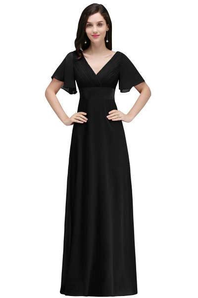A-line V-neck Floor Length Chiffon Bridesmaid Dress_5