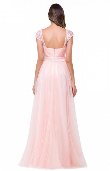 Off The Shoulder Cap Sleeves Chiffon A-line Bridesmaid Dress_11