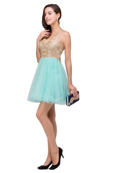 Short Tulle A-line V-Neck Appliques Sleeveless Prom Dresses_8
