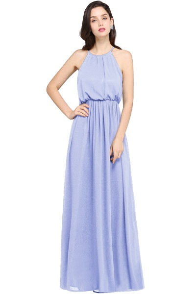 CHEYENNE | A-line Floor-length Chiffon Navy Blue Simple Prom Dress_4