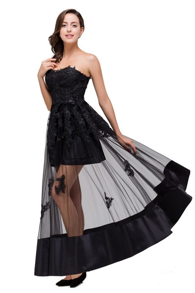 Fascinating Strapless Tulle A-line Evening Dress_5