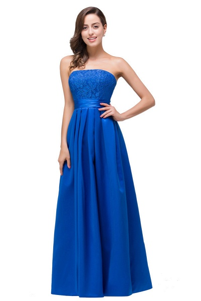 Strapless Taffeta A-line Floor Length Bridesmaid Dress_1
