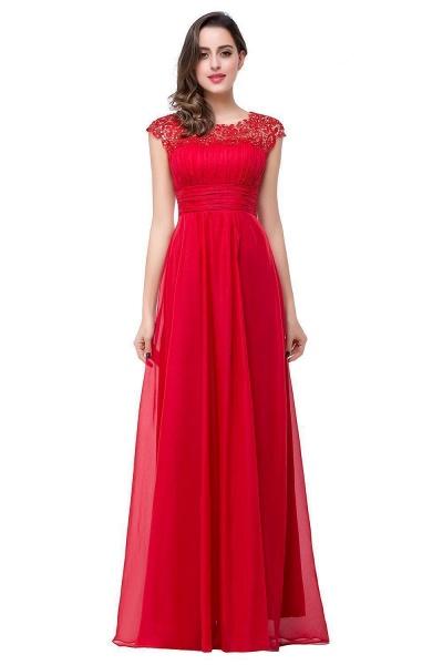 EMMELINE | A-Line Cap Sleeves Floor-Length Chiffon Prom Dresses_1