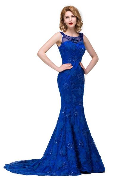 Modest Jewel Taffeta Mermaid Evening Dress_4