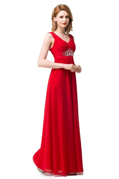 V-neck Chiffon A-line Knee Length Bridesmaid Dress_5
