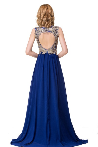 Excellent V-neck Chiffon A-line Evening Dress_5
