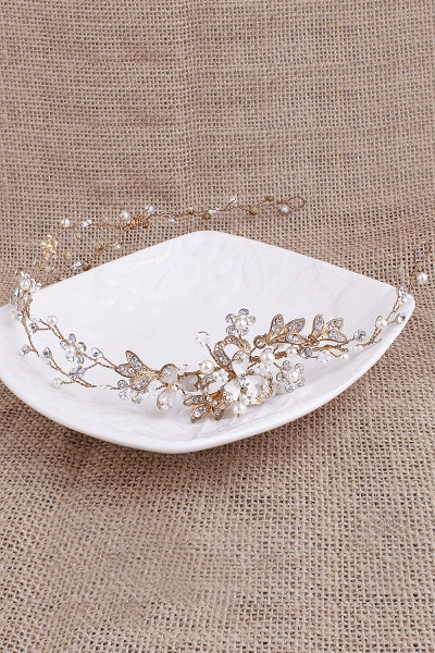 Beautiful Alloy&Imitation Pearls Special Occasion Hairpins Headpiece with Rhinestone_7