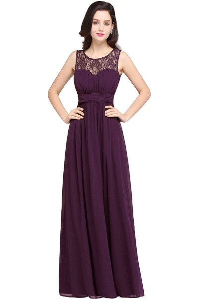 CHELSEA | Sheath Round neck Floor-length Navy Blue Prom Dress_3