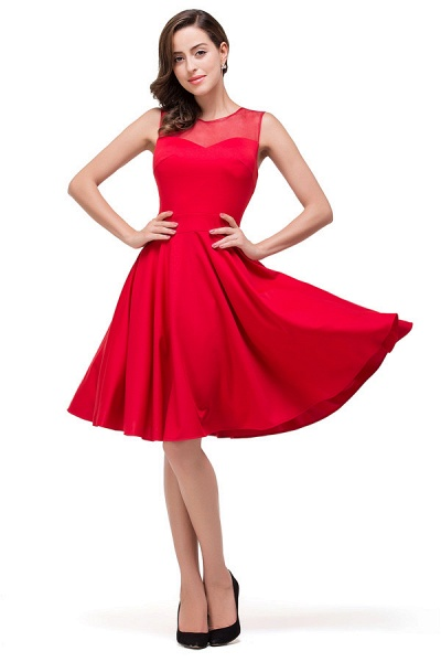 Chiffon A-line Knee Length Bridesmaid Dress_4