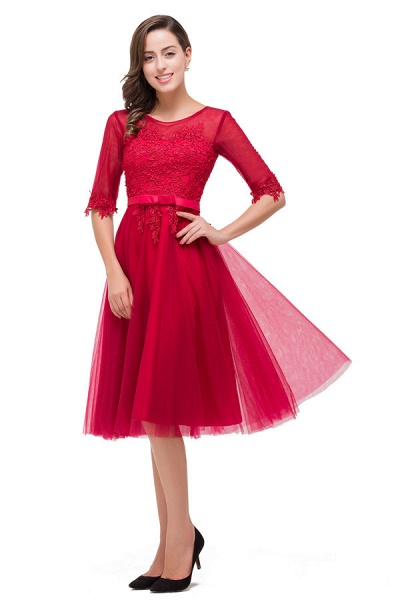 Half Sleeves Lace A-line Tea Length Bridesmaid Dress_5