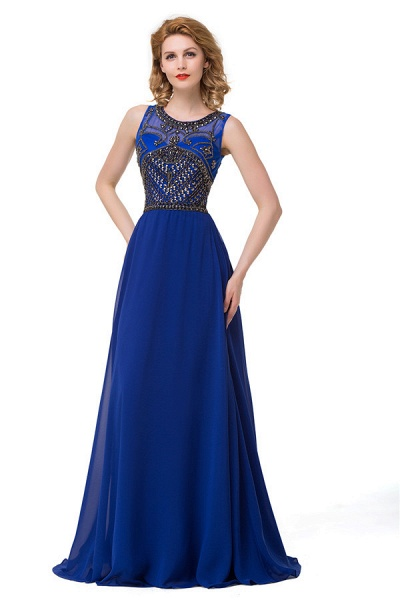 Beautiful Jewel Chiffon A-line Evening Dress_5