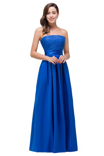 Strapless Taffeta A-line Floor Length Bridesmaid Dress_3