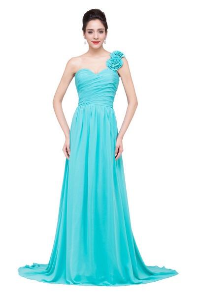 One Shoulder Chiffon A-line Floor Length Bridesmaid Dress_1