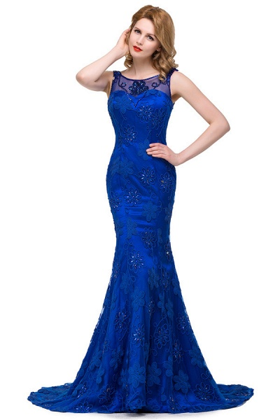 Modest Jewel Taffeta Mermaid Evening Dress_3