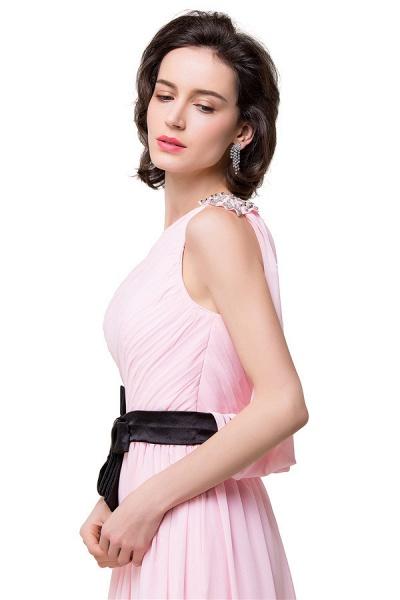One Shoulder Chiffon A-line Floor Length Bridesmaid Dress_3