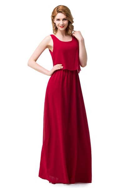 Square Chiffon A-line Floor Length Bridesmaid Dress_6