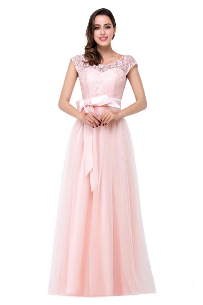 Off The Shoulder Cap Sleeves Chiffon A-line Bridesmaid Dress_4