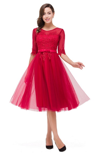 Half Sleeves Lace A-line Tea Length Bridesmaid Dress_1