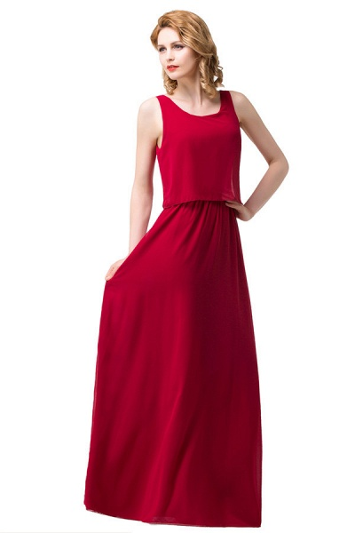 Square Chiffon A-line Floor Length Bridesmaid Dress_3