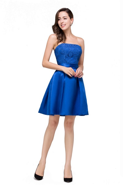 Strapless A-line Mini Bridesmaid Dress_4