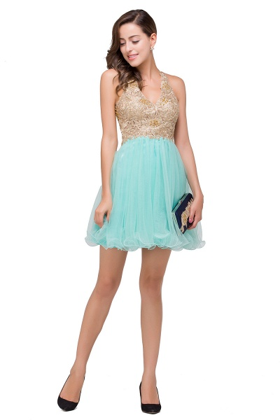 Short Tulle A-line V-Neck Appliques Sleeveless Prom Dresses_9