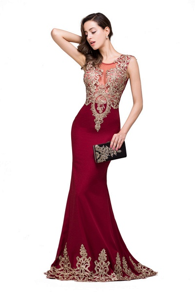 Eye-catching Jewel Taffeta Mermaid Evening Dress_6