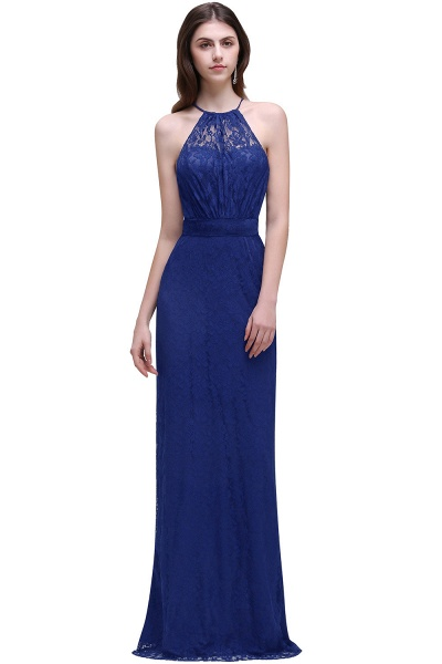 CHARLEE | Column Floor length Halter Navy blue Prom Dress_2