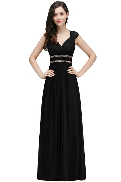 V-neck Cap Sleeves Chiffon Column Floor Length Bridesmaid Dress_7