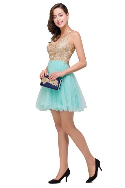 Short Tulle A-line V-Neck Appliques Sleeveless Prom Dresses_7