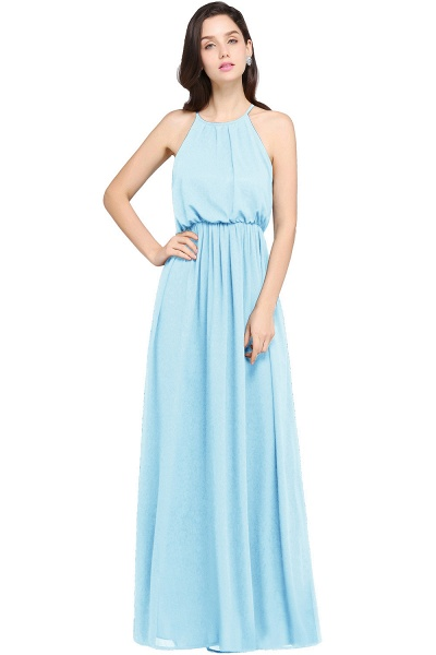 CHEYENNE | A-line Floor-length Chiffon Navy Blue Simple Prom Dress_5