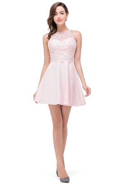 Short Sleeves Chiffon A-line Mini Bridesmaid Dress_1