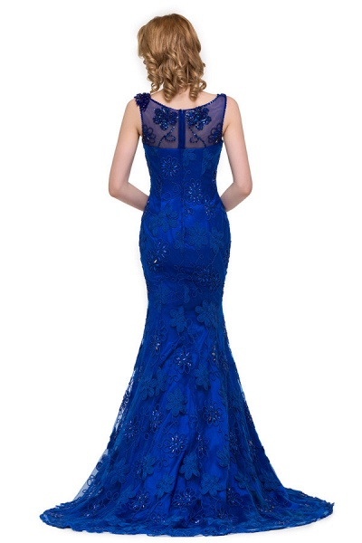 Modest Jewel Taffeta Mermaid Evening Dress_8
