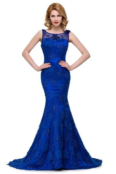 Modest Jewel Taffeta Mermaid Evening Dress_2
