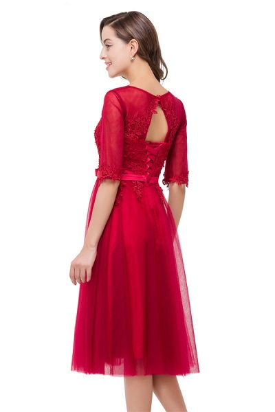 Half Sleeves Lace A-line Tea Length Bridesmaid Dress_7