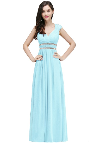 V-neck Cap Sleeves Chiffon Column Floor Length Bridesmaid Dress_4