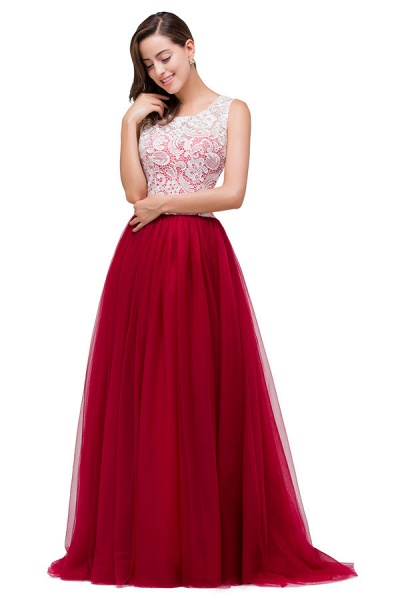 Lace A-line Floor Length Bridesmaid Dress_1